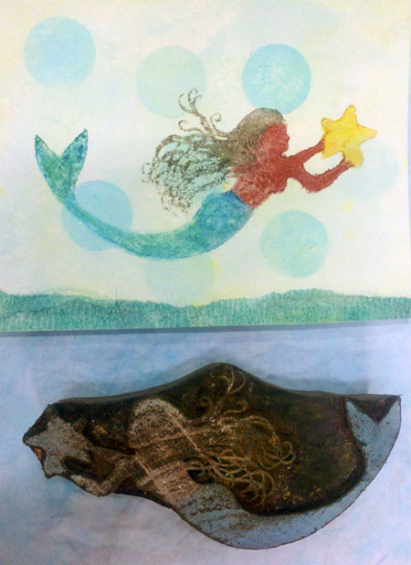 Using Gelatos on wooden printing blocks--print by Sharon McDonagh