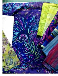 Fabrics from Frond Design and our own Batik Tambal Exclusive Batik to create the Modern Squares Quilt