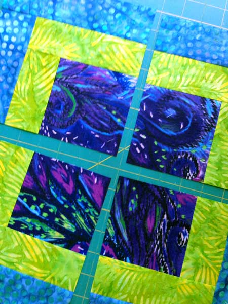 Cutting the Modern Quilt Squares block horizontally for four identical blocks
