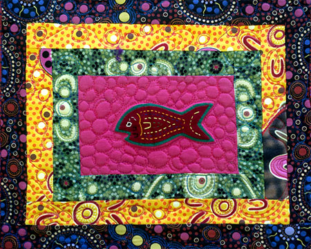 Mola Fish quilt panel by Judy Gula