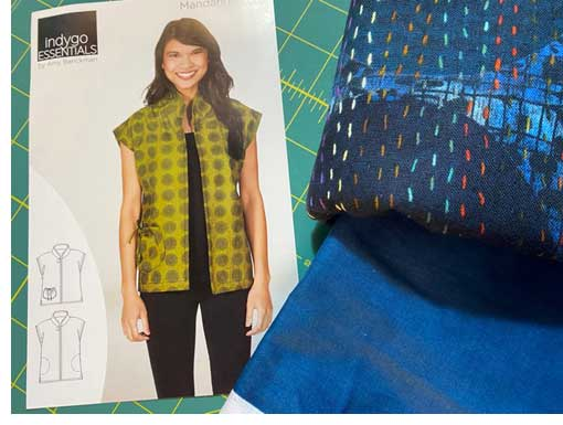 Mandarin Vest pattern and fabric chosen by Nancy McCarthy