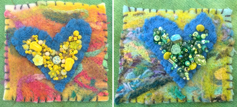Beaded details of needlefelted hearts by Judy Gula of Artistic Artifacts