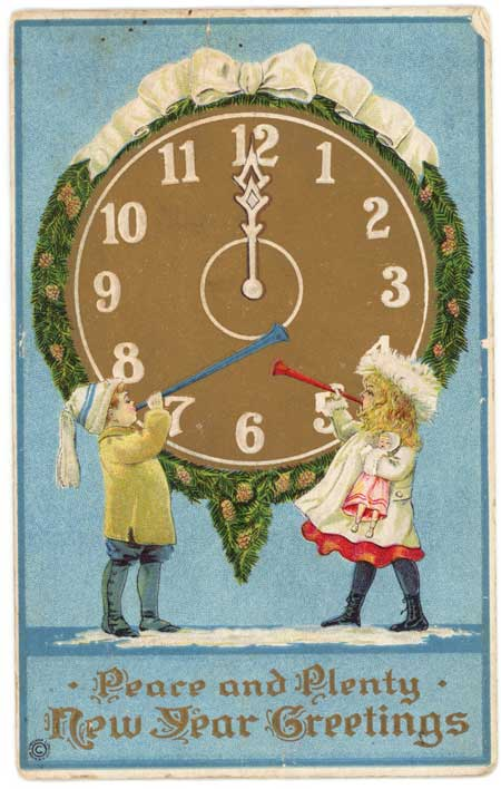 Vintage postcard celebrating New Year's Eve image