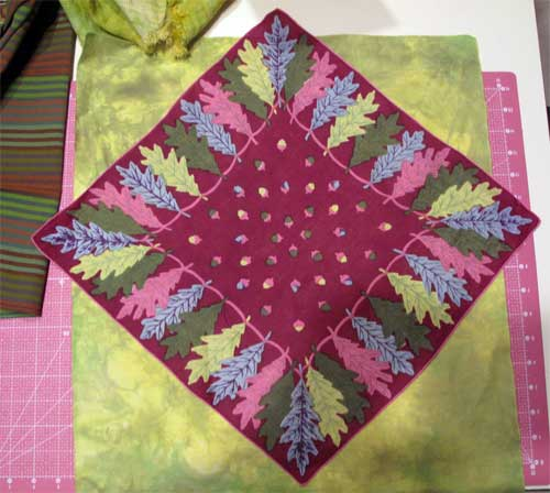On point layout of vintage handkerchief