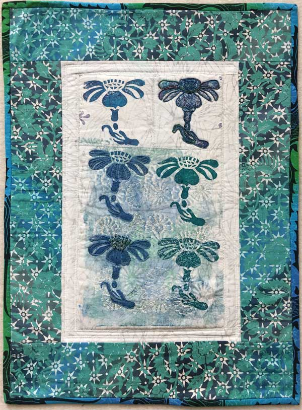 Orchid Block Printed Art quilt