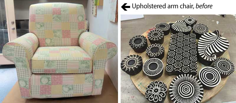Fiber and mixed media artist Judi Hurwitt used wooden printing blocks and fabric paint to transform an upholstered chair