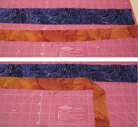 Right sides up, overlap two strips