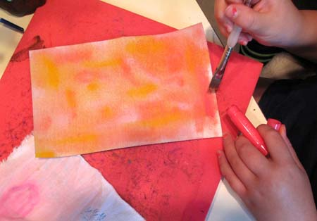 Using Gelatos to paint Multi-Purpose Cloth