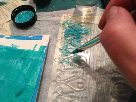 Stewart Gill paints applied directly to a large polymer stamp