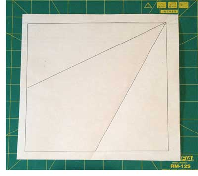 Paper template for my Australian fabric quilt; four of these blocks are joined to create the star