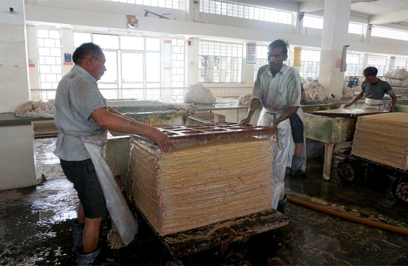 Part of the paper making process at Salim's Paper