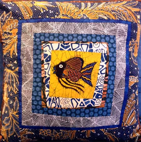 Tulis batik and fish log cabin memory pillow