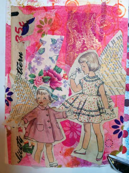 Collaged mixed media card by Judy Gula of Artistic Artifacts
