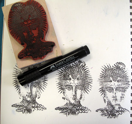 Using a Pitt Big Brush pen to color a rubber stamp
