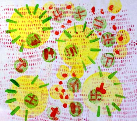 Printed fabric created by Judy Gula of Artistic Artifacts