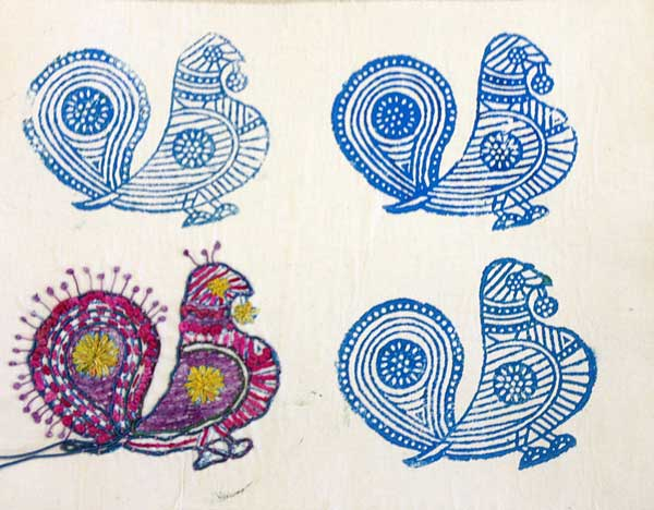 Block printed fabric accented with hand-stitching by Judy Gula