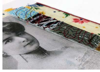 Detail of a mixed media greeting card created by Judy Gula of Artistic Artifacts