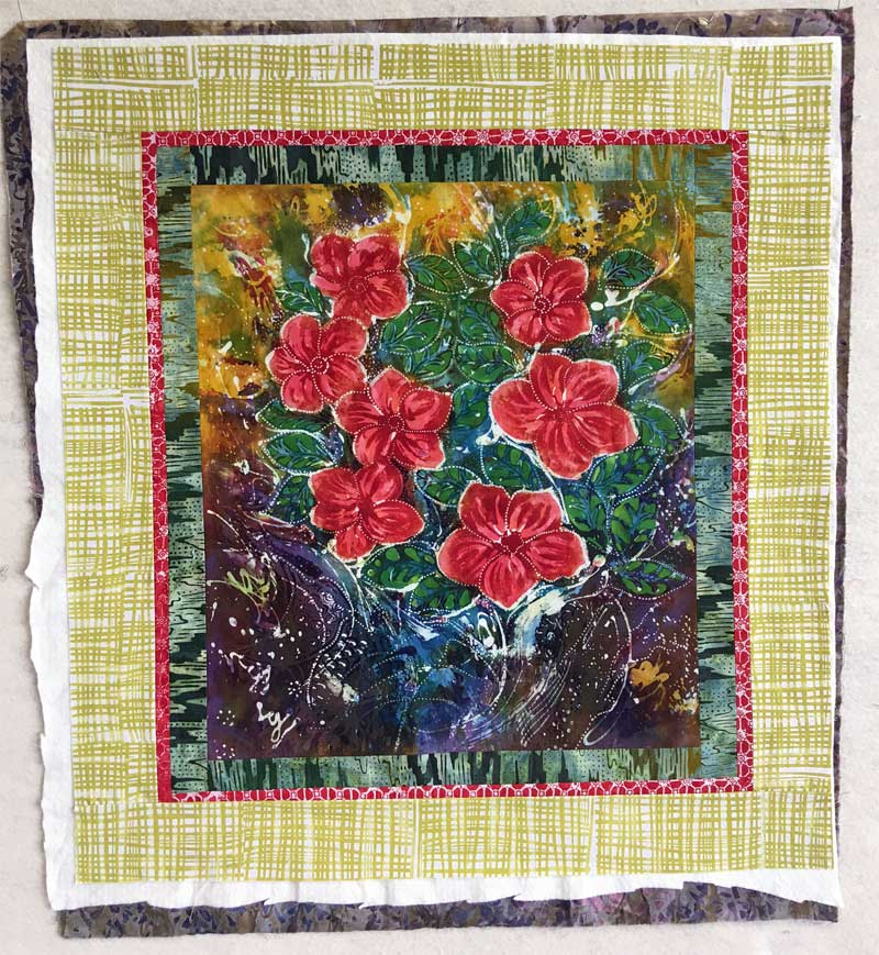 Medium Hari Agung floral panel art quilt ready for quilting and then binding