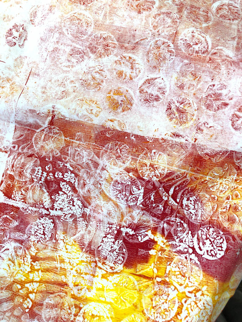Fabric printed on gel plate with Artistic Artifacts Fluid Textile Paint by Judy Gula