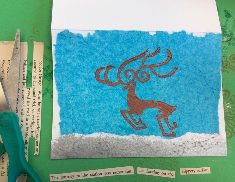 Using reindeer print to create a holiday card