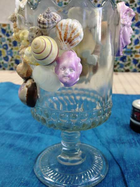 Painted Relics & Artifacts and sea shell glass display piece by Judy Gula in progress
