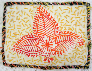 Hand-stitched block printed  fabric by Judy Gula