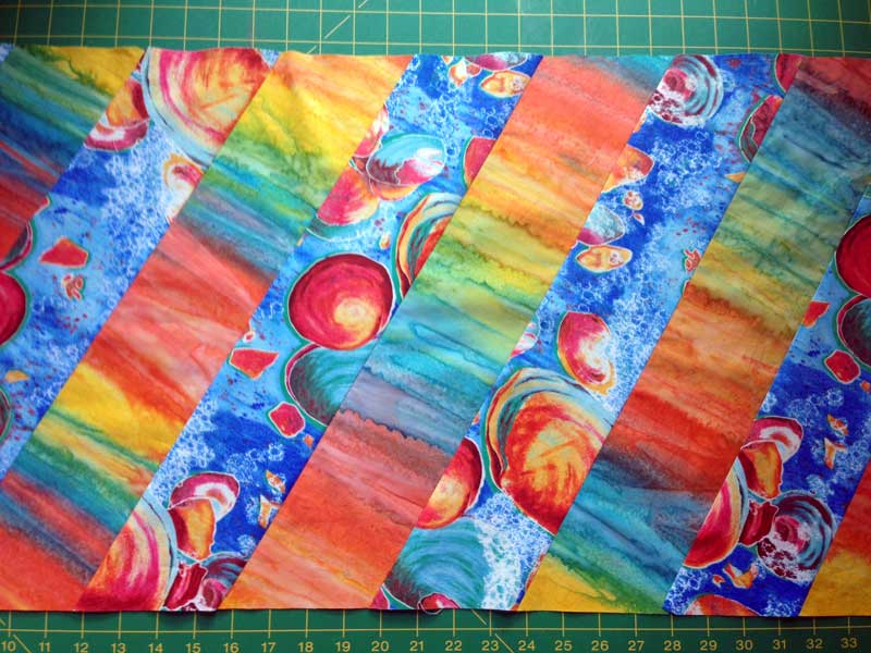 Christine Vinh begins piecing a table runner, inspired by a Kaffe Fassett project
