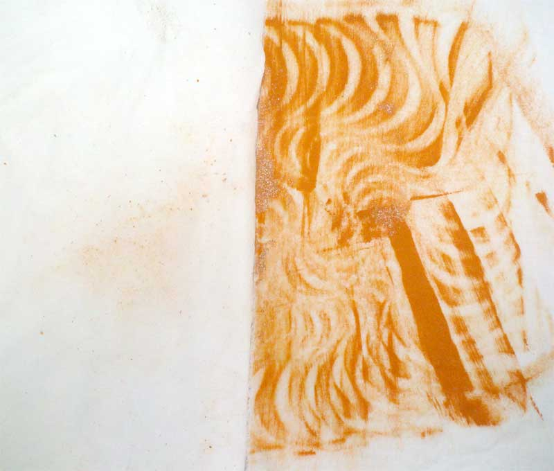 Rusty Paper fabric swatch after hand washing