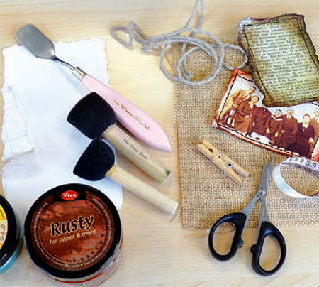 Materials to create Rusty Paper tag