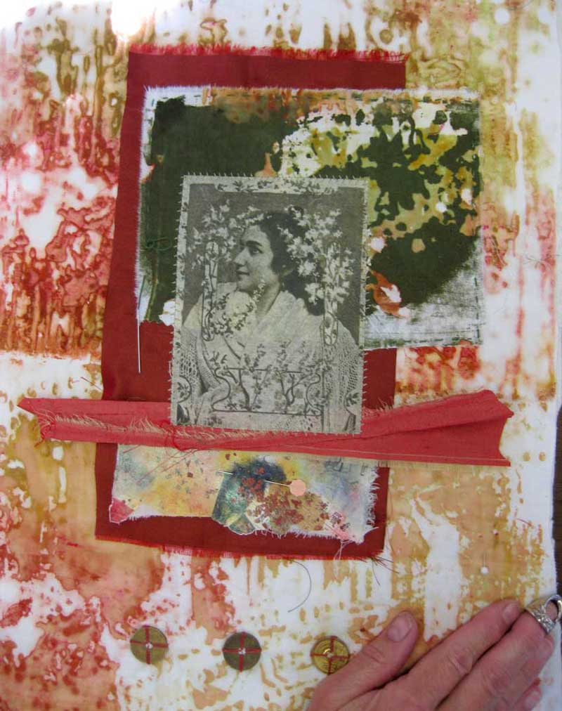 Ruth Chandler's student work from Dye. Layer. Collage. Art class by Judy Gula at Textile Evolution Retreat 2010