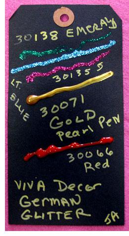 Pen samples on black tag