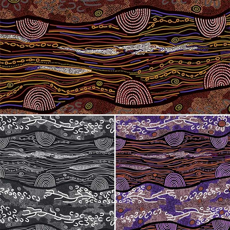 Sandy Creek by Janet Long Nakamarra, available in yellow, black and purple