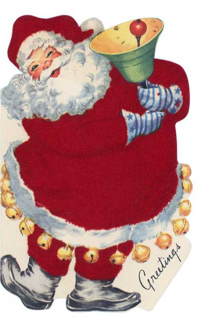 Vintage flocked Santa card image