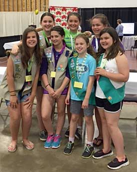 Girl Scout Troop #776 volunteers for the Fun with Fabric project