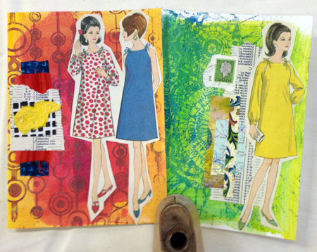 Monoprints/vintage sewing pattern collaged cards by Judy Gula of Artistic Artifacts