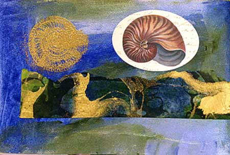 Embossed and collaged shell page by Judy Gula