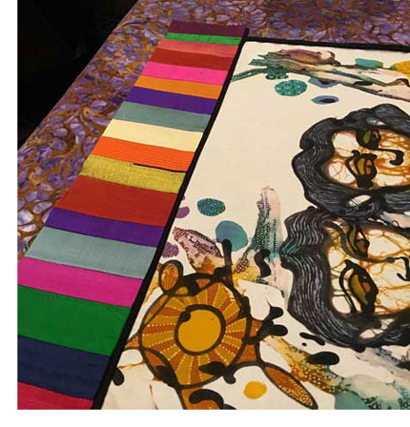 Sisters batik panel quilt by Judy Gula, in progess, included in Colorful Batik Panel Quilts