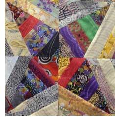 Virginia Strings block inspired by Bonnie Hunter, pieced by Judy Gula