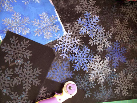 Snowflake Wooden Printing Block used on fabric