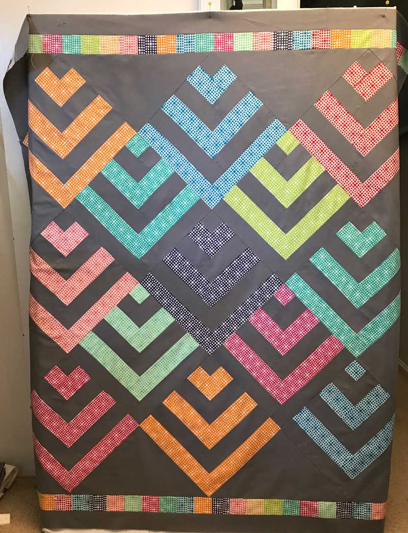 Another Squared Elements quilt in progress by Chris Vinh of StitchesnQuilts
