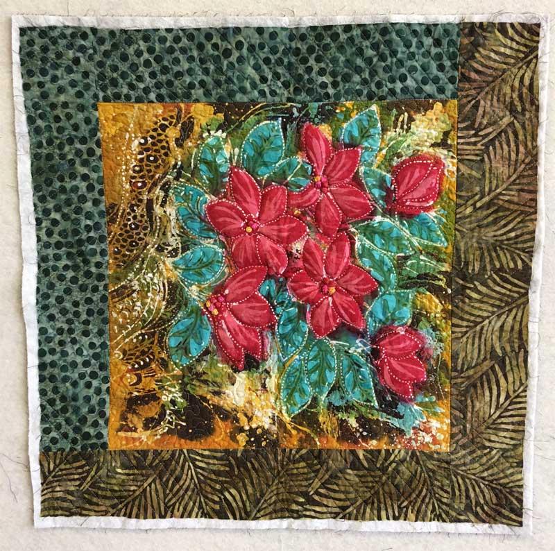 Small red floral batik panel by Hari Agung bordered with Batik Tambal Exclusive Batik