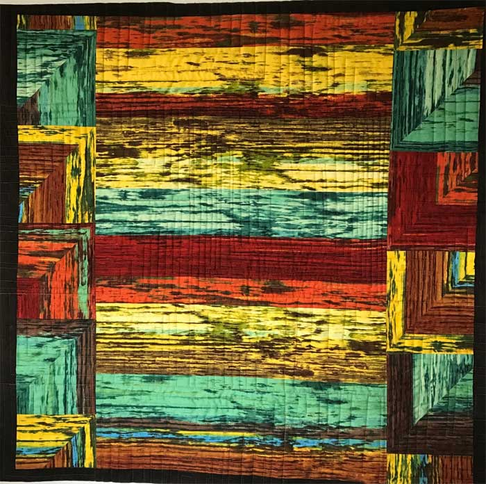 Stacked Squares art quilt back by Chris Vinh