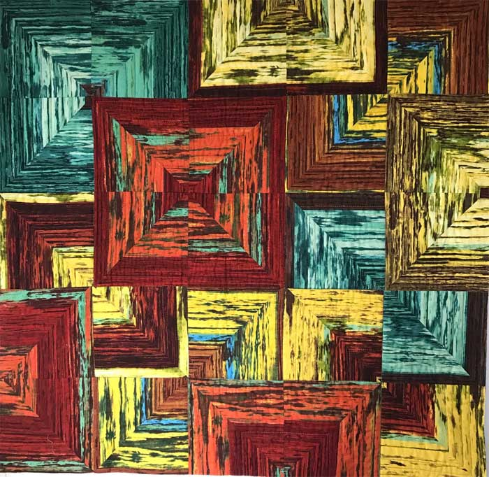 Stacked Squares art quilt front by Chris Vinh