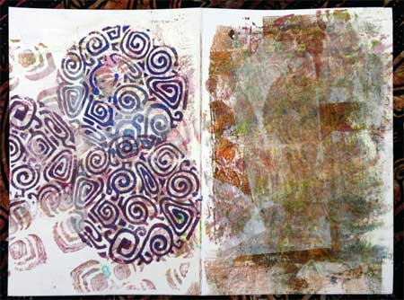 Art journal pages with block printed tissue