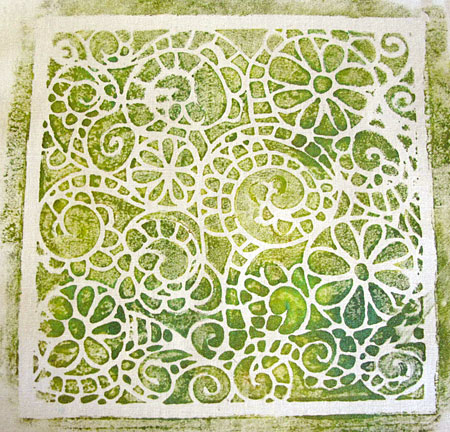 Fabric monoprinted using a Gelli Arts Gel Printing Plate