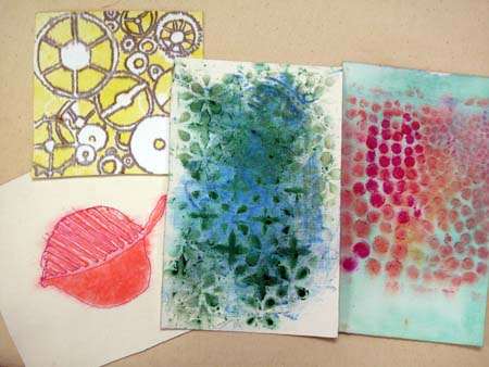 Stencil and block prints with Gelatos