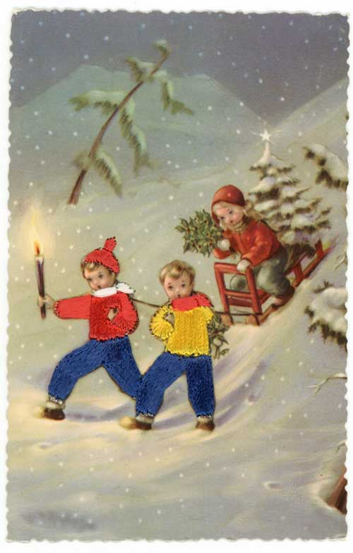 Vintage postcard of sledding children image