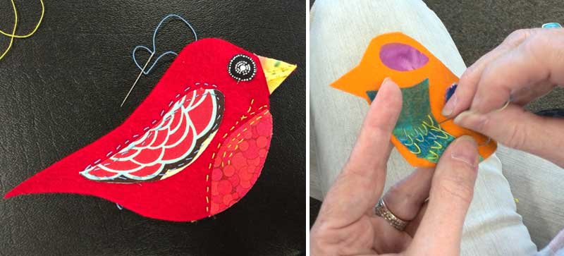 Felt and fabric birds being embellished with hand stitching using WonderFil threads