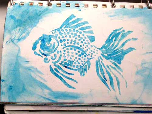 Suzanne Langsdorf's stenciled fish