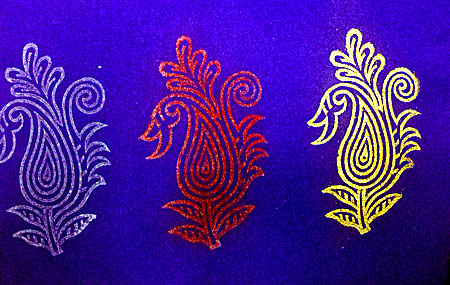 Test swatch, inks and embossing powders on fabric